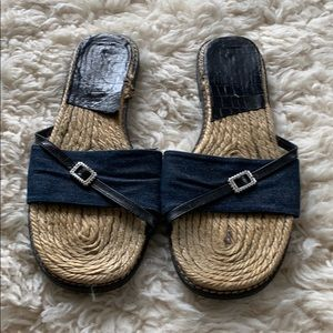 Brighton Straw and Denim Sandal